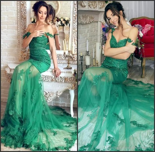 Appliques Green Evening Dress Mermaid Sheer Skirt Tulle Sweep Gorgeous Off The Shoulder Prom Dress robes de soiree tendance longue