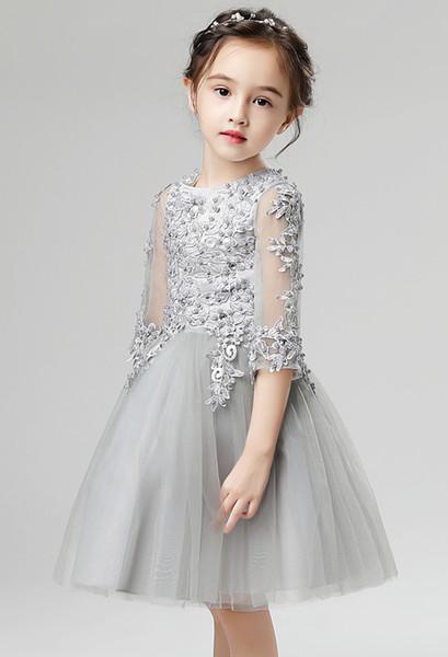 Jolies robes de demoiselle d'honneur appliques jolies argent rose-rouge ivoire appliques fille de fille de fleur robes de soirée princesse enfant jupe sur mesure 2-14 H314314