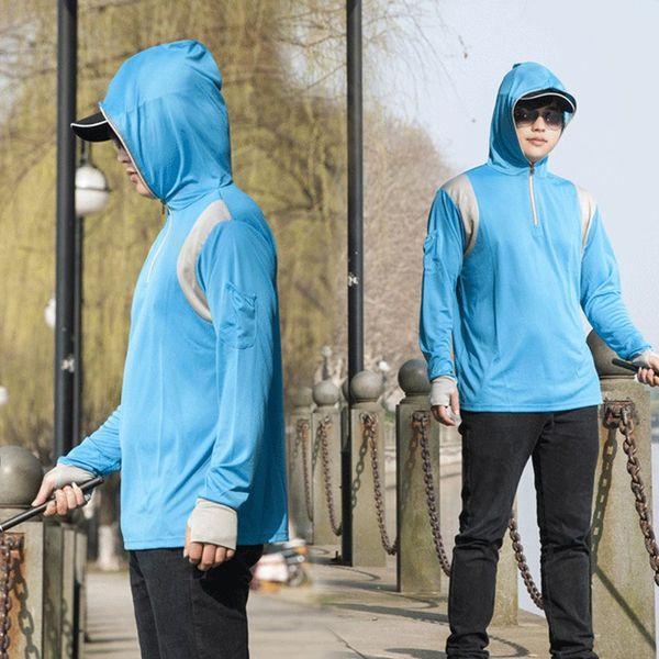 Mens Long Sleeves Tops Hoodie Sweatshirts Angeln Anzug Reißverschluss Bluse Sportswear Anzug Sommer Hemd Hosen Kapuzenhemd 7.23