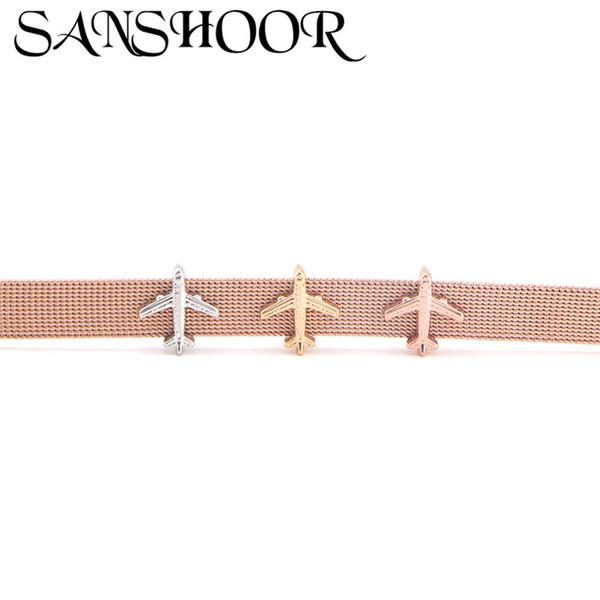 SANSHOOR Bijoux Avion Avion Glissière Charmes Fit 10mm En Acier Inoxydable Bracelet En Maille pour Femmes DIY Accessoires Making