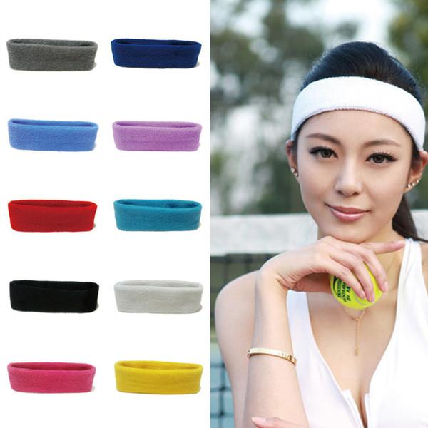 Multicolor Unisex Cotton Sports Headband Sweat Sweatband Headband Yoga Gym Stretch Head Band For Basketball Riding Sport