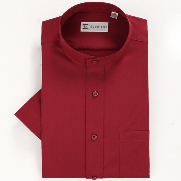 2018 Men's Summer Clothing Wine Red Stand Collar Short Sleeve shirt 100% cotton Party Formal Shirts Slim Fit White Red Shirts