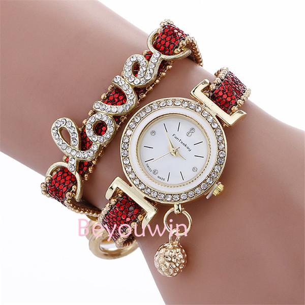 100pcs/lot fashion love crystal wrap around pendant leather watch for women wrap casual quartz heart pendant bracelet watch