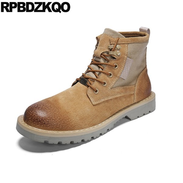 Patchwork Desert Booties Men Designer Tactical Army Military Autumn Lace Up Fall Brown 2018 Boots Canvas Shoes British Style