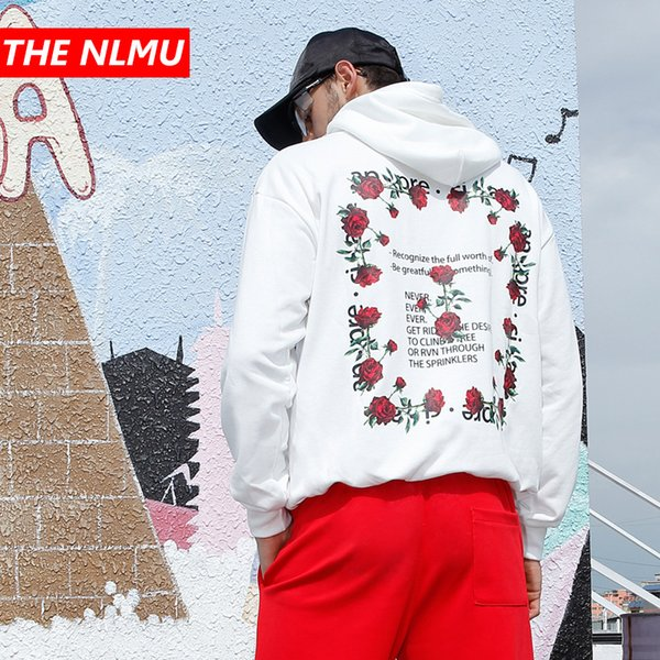 Hip Hop Rose Printed Hoodie Men Women 2018 Autumn Casual Pullover Hoodies Male Fashion Skateboards Sweatshirts White WE291