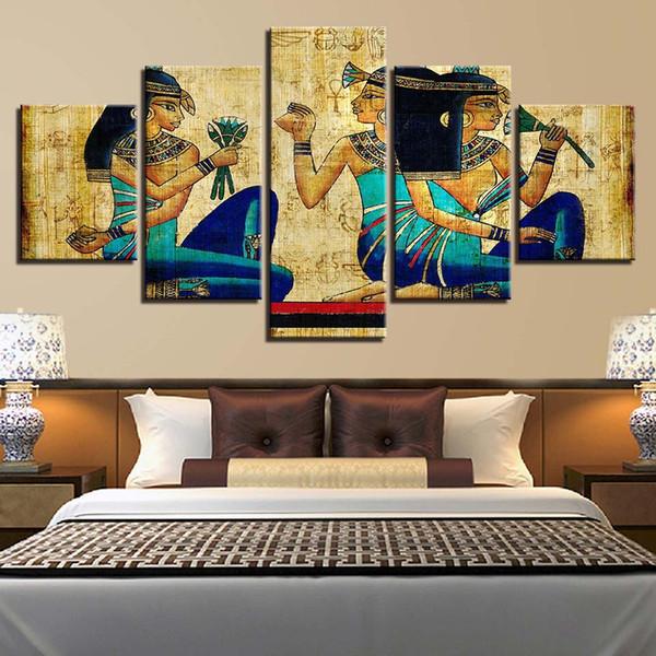 Leinwandbilder Wohnkultur HD Drucke Abstrakte Poster 5 Stücke Vintage Alten Ägypten Pharaonen Mädchen Gemälde Wandkunst (Kein Rahmen)