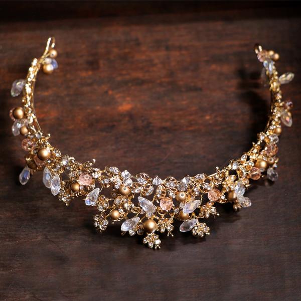 Crown Wedding Hair Accessories Tiara Handmade Golden Bridal Crowns Vintage Beauty Tiaras Crystal Gold Pearl Prom Headpiece J 190430
