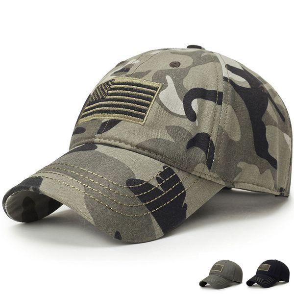 Neue Männer berühmte USA-Flagge Camouflage-Baseballmütze Armee Stickerei Cotton Tactical Snapback Dad Hat Male Summer Sports America Trucker Cap