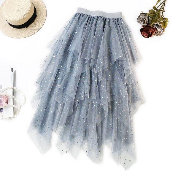 Summer Vintage Sequined Maxi Mesh Skirts Womens Irregular Tulle Skirt Bronzing Long Pleated Tutu Skirt Women Saias Faldas Jupe