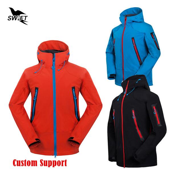 HOT personnalisé logo 2019 imperméable à capuche Softshell Veste Hommes Hiver Thermique Tech Polaire Randonnée Vêtements Ski De Pêche Escalade Manteau
