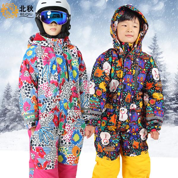 Winter Kids Girls Boys Ski Suit Set Waterproof Children Snowsuit Rompers Ski Jumpsuit lumilautailusarja