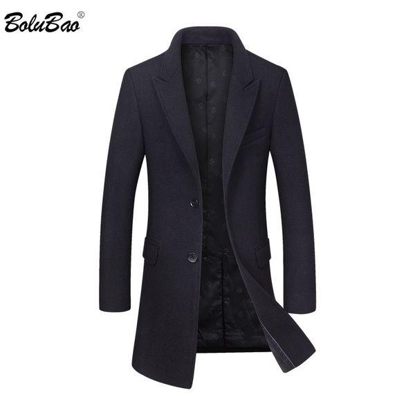 bolubao men formal wool blend coat 2019 winter male double - breasted overcoat long coat men's slim fit solid coats