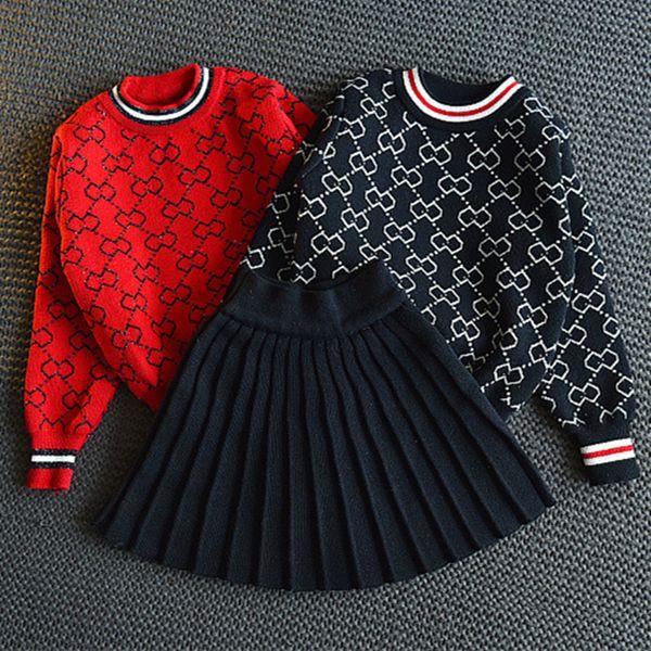SpringAutumn полный принт шаблон новорожденных девочек вязаный свитер топ + черная юбка детская одежда комплект для девочек бренды красный комплект одежды