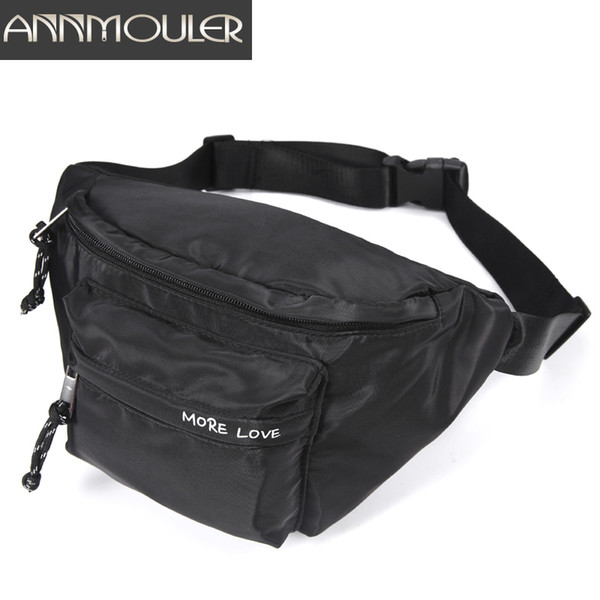 Annmouler Femmes Mode Taille Sac Polyester Double Poches Taille Pack Grande Capacité Poitrine Sac Sports Fanny Pack Utilitaire ceinture