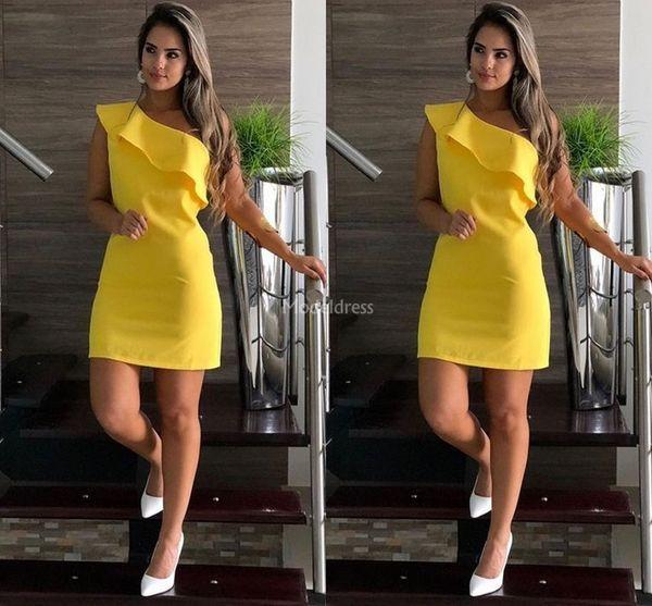Moderna brevi Guaina Prom Dresses Yellow una spalla mini partito convenzionale di sera del vestito da cocktail poco costoso sexy abito speciale occasione Vestido