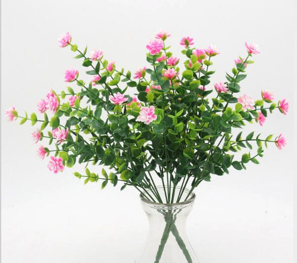 Potted 7 forks and 35 leaves of plastic dried flower Eugali rose green plant WL109
