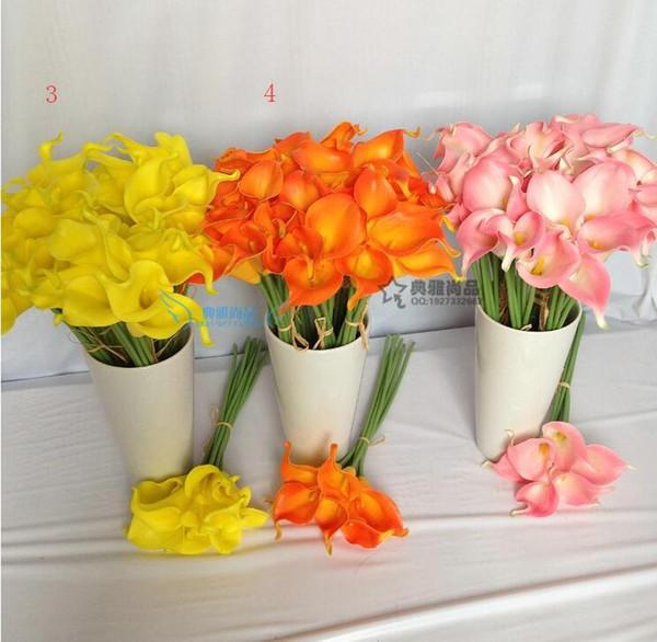 Toptan-20 adet / grup Yapay Çiçekler Gerçek Dokunmatik Calla Lily Düğün Buket Parti Ev Dekorasyon için 10 renkler (hayır vazolar)