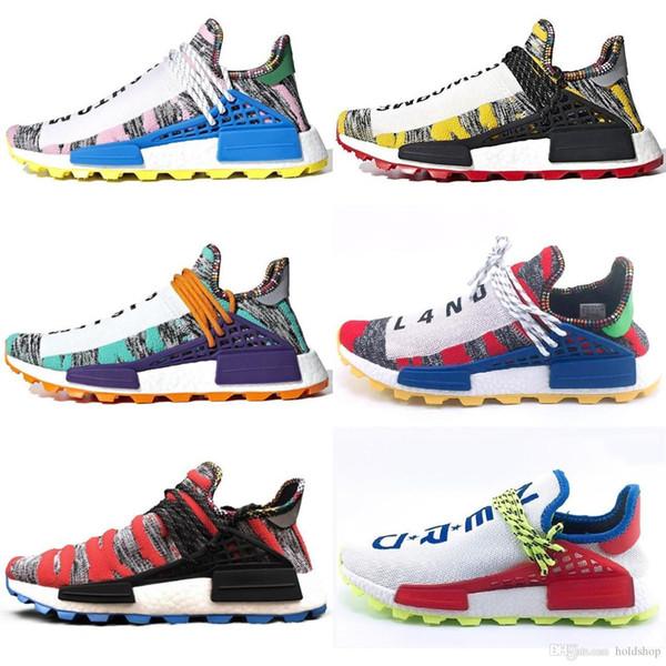 Nuevo 2019 Llegada Human Race Hu Trail X Pharrell Williams Hombres Zapatillas de correr Paquete solar Afro Holi Zapatillas de lona en blanco Zapatillas de deporte deportivas para mujer