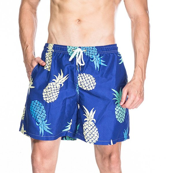 Pantaloncini da spiaggia estivi Uomo Stampa Ananas Moda Uomo Pantaloncini da tavola Casuali allentati sopra il ginocchio Vita elastica Costumi da bagno Uomo