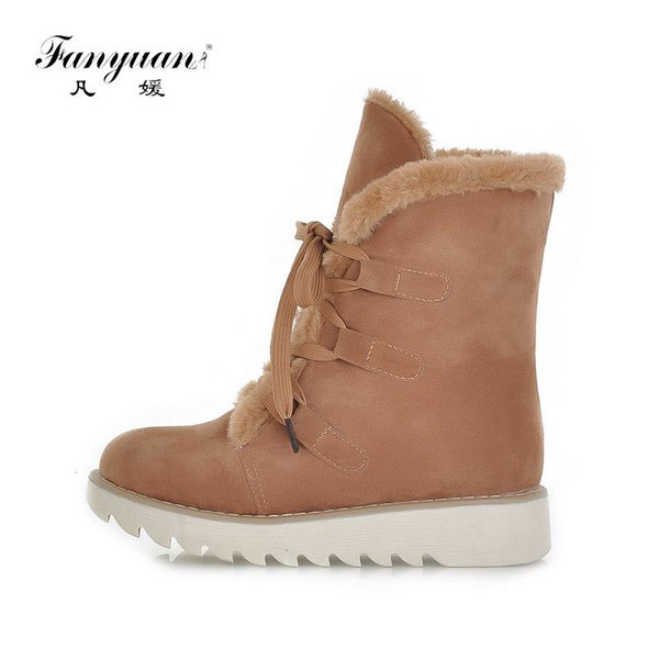 Fanyuan Winter Female Shoes Botas Mujer Comfort Solid Non-slip Warm Plush Snow Boots Flock Lace-Up Flat Platform Ankle Boots