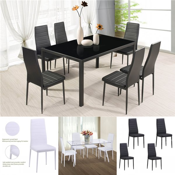 Of 4 Dining Chair Kitchen Chairs Cushion High Back Support PU Leather  Dining Bedroom Living Room Side Chairs From Greatfurnishing, $106.79 | ...