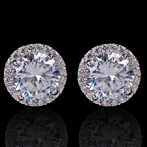 Fashion Women Girl White Rhinestone Crystal Round Metal Silver Zircon Ear Stud Earrings Patry Earring Jewelry free shipping