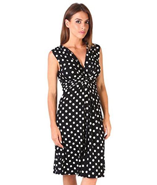 KRISP Femmes Casual Cocktail Party Polka Dot noeud avant robe taille froncée Plus la taille