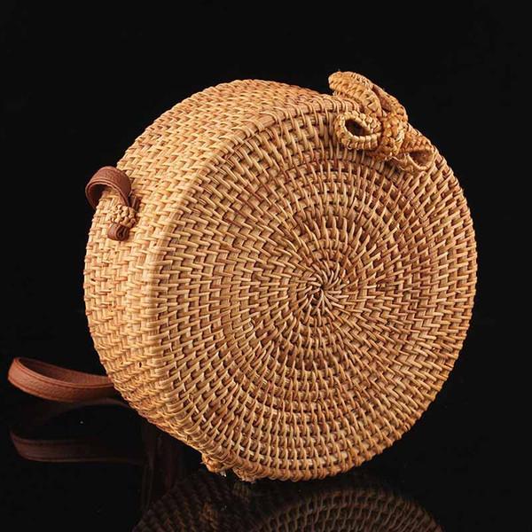 b4bff70bcceb Multi Purpose Boho Rattan Round Crossbody Bag With Adjustable Genuine Strap  Women Storage Bags Makeup Organizer Toto Handbags Brands Womens Handbags ...