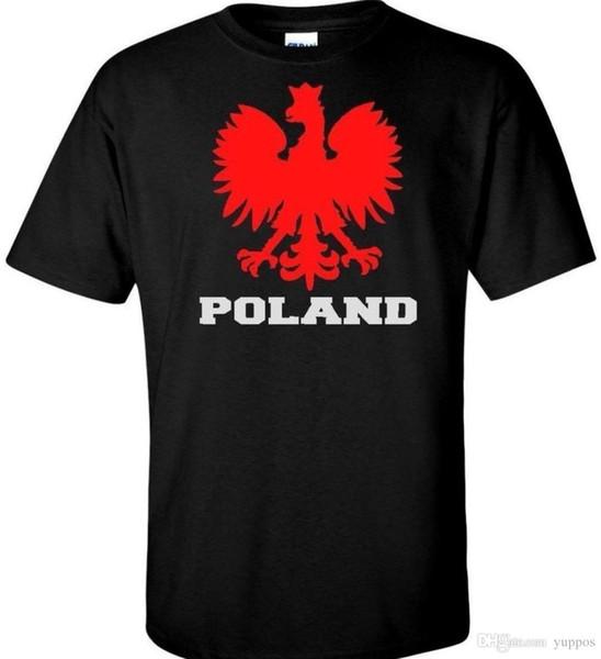 Polônia Águia Mens Camisa Polska Polonês Falcão Bandeira Legal Retro Preto, Branco, Vermelho