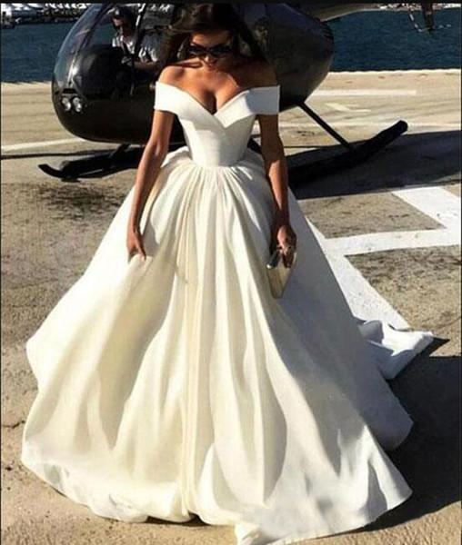 2019Новая мода Простые дешевые свадебные платья с открытыми плечами с рукавами атласная развертки поезд линии свадебных платьев сексуальные платья