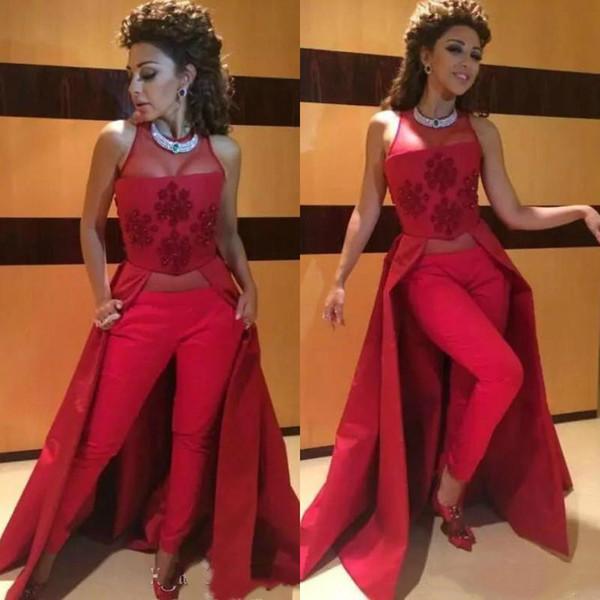 Dos piezas de borgoña vestidos de baile con pantalones ajustados 2019 mujeres con cuentas trajes de pijamas vestidos de noche Myriam Fares largo vestido de fiesta formal