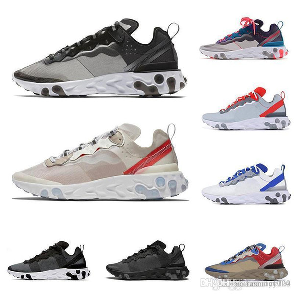 best selling 2019 react element 87 55 running shoes for men women Anthracite Light Bone triple black white RED ORBIT fashion mens trainers sports sneaker