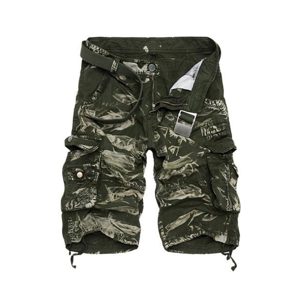 Pantalones cortos de carga para hombres Ropa de verano de camuflaje Pantalones cortos para hombre del ejército de algodón Hombres Tallas grandes