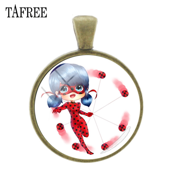 TAFREE Lady beetle girl Cartoon pictures Pendants Fashion Bronze plated charms 25mm Glass cabochon Personalized Jewelry LB76