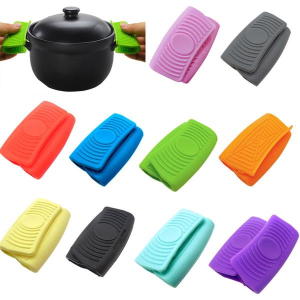 Mini Mitt Pişirme Fırın Tutam Sapları Isı yalıtımlı Pan Kulak Klipler Renkli Silikon kaymaz Taşınabilir Pan Kulak Klipler yalıtım pot etkili ...