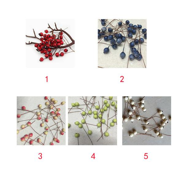 50 Pcs Artificial 20 mm Cereza frutas artificiales Bayas artificiales en Alambre