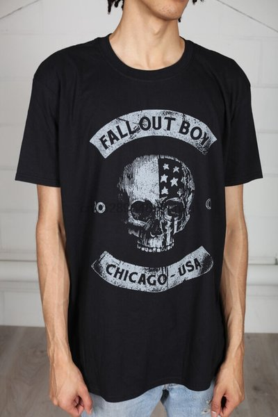 Official fall out boy chicago skull unisex t-shirt poisoned youth gear head text(2)