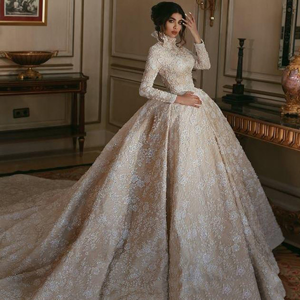 Arabic Dubai Ball Gown Wedding Dress With Appliques 2019 Muslim