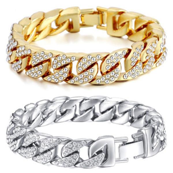 14mm Bracelet Cubain Pour Hommes Or Argent Couleur Hip Hop Strass CZ Rappeur Bracelet Bijoux