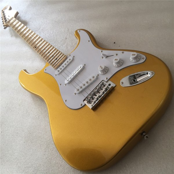 Free shipping Factory In Stock Now Special Price Cream Electric Guitar with Scalloped Maple Fretboard,White Pickguard,High Quali