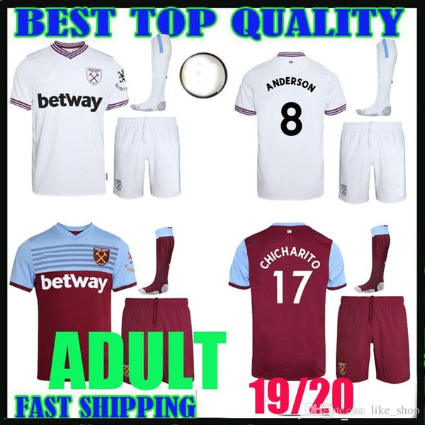 low priced 3d35d 9e19b 2019 ADULT KIT 19 20 West Ham Soccer Jerseys United 2019 2020 Home Away  WILSHERE Anderson Chicharito LANZINI ARNAUTOVIC Yarmolenko Football Shirt  From ...