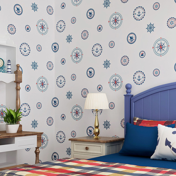 Large mural Mediterranean wallpaper boys child bedroom background wall non-woven sailboat blue circle cartoon decor wallpaper