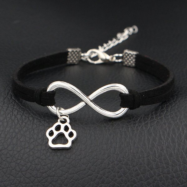 Hot 2018 New Cute Mini Dog Paw Prints Charms Jewelry Antique Silver Love Infinity Black Leather Suede Wrap Bracelets & Bangles For Women Men