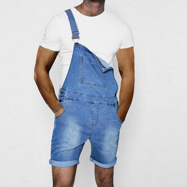 Oeak Herrenmode Denim Overalls Neue Sommer Einfarbig Slim Fit Gerade Kurze Jeans Latzhose Lässiger Overall mit Tasche