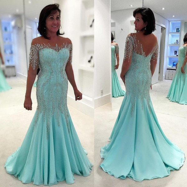 Luxury Mermaid Rhinestones Beading Mother Of The Bride Dresses Half Sleeves Bateau Neck Evening Gowns Chiffon Sequined Wedding Guest Dress