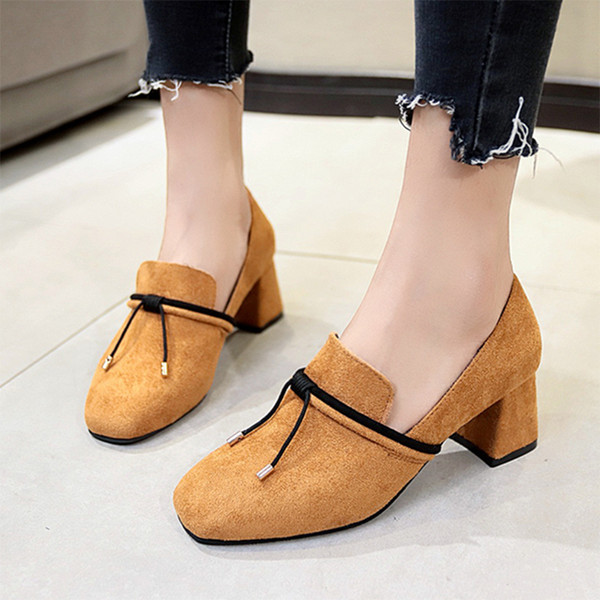Designer Dress Shoes Spring Autumn Square Toe High Heels Boat Woman Dress Bow Knot Slip on Loafers Faux Suede Pumps Designer 6946