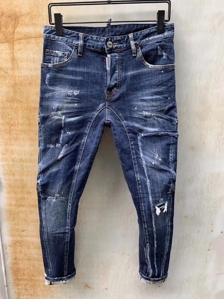 Italia la moda D2019 nuovi pantaloni del denim degli uomini di fascia alta di vendita calda di personalità piedi Slim pantaloni casual micro-elastici 23 T81
