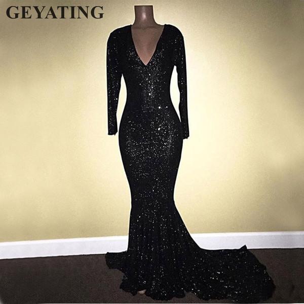 Sirena de lentejuelas negras vestidos de fiesta africanos mangas largas 2019 Sexy con cuello en v Vestido De Festa Vestidos de fiesta de noche de chicas negras largas