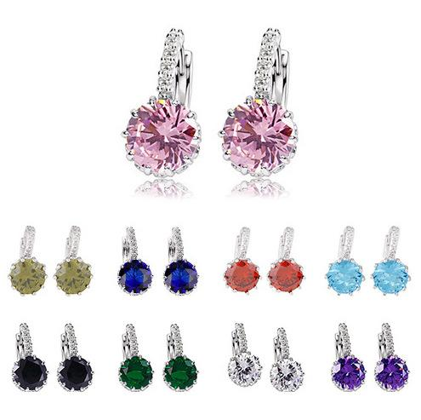 Fashion Full Bling Rhinestones White Red Round Crystal Drop Earrings for Women Diamonds Silver Stud Earrings Wedding Jewelry