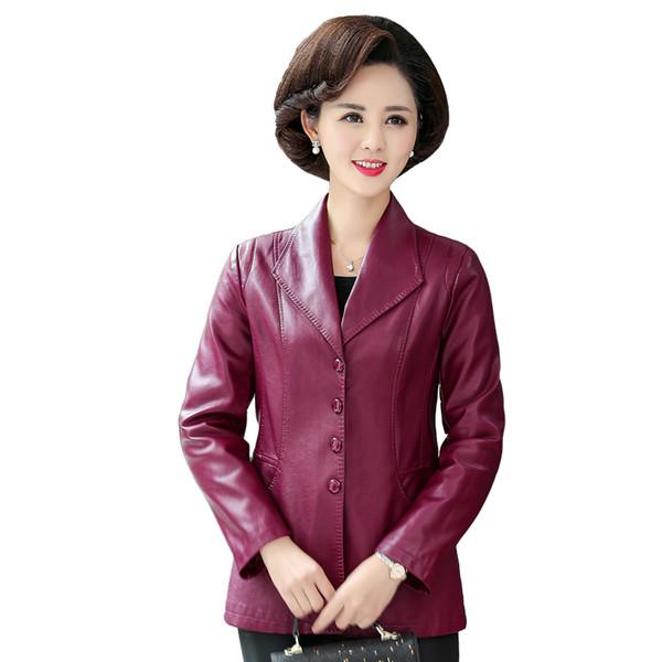 Chaqueta breasted sola capa de cuero de las nuevas mujeres de la moda de primavera Traje Tipo chaquetas de cuero PU de las mujeres